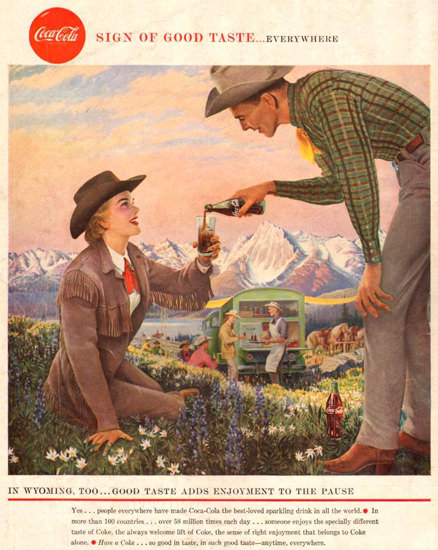 Coca-Cola Wyoming Cowgirl 1958 | Sex Appeal Vintage Ads and Covers 1891-1970
