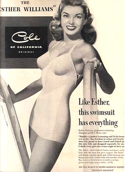 Cole Swim Suit Esther Williams 1949 California | Sex Appeal Vintage Ads and Covers 1891-1970