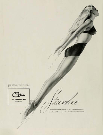 Cole Swim Suit Streamline California | Sex Appeal Vintage Ads and Covers 1891-1970