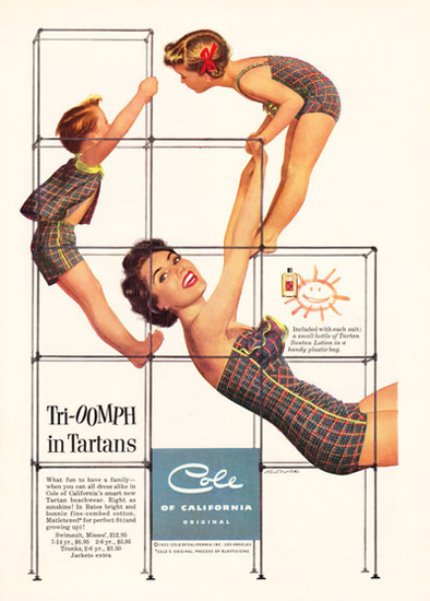 Cole Swim Suit Tri-OOMPH in Tartans California | Vintage Ad and Cover Art 1891-1970