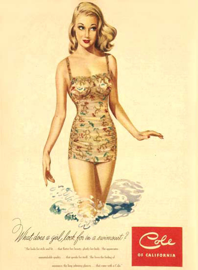 Cole Swim Suit What Does A Girl Look For CA | Sex Appeal Vintage Ads and Covers 1891-1970