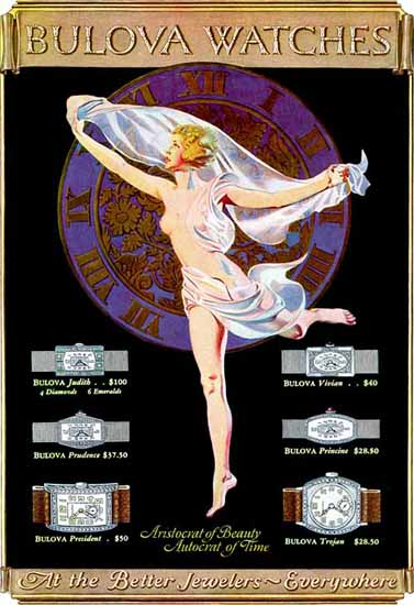 Coles Phillips Bulova Watches Aristocrat of Beauty 1926 Sex Appeal | Sex Appeal Vintage Ads and Covers 1891-1970