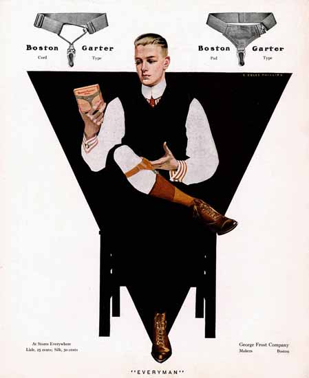 Coles Phillips George Frost Co Boston Garter Everyman Sex Appeal | Sex Appeal Vintage Ads and Covers 1891-1970