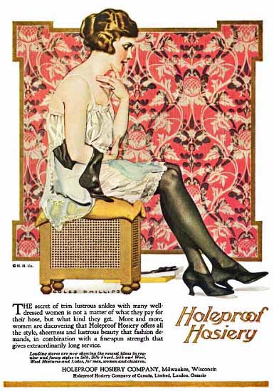 Coles Phillips Holeproof Hosiery Secret Of Trim 1921 Sex Appeal | Sex Appeal Vintage Ads and Covers 1891-1970