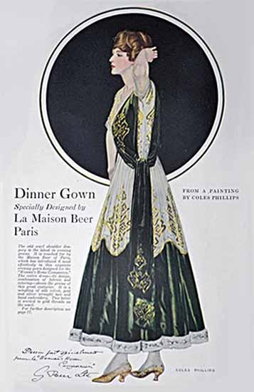 Coles Phillips La Maison Beer Paris Dinner Gown 1916 Sex Appeal | Sex Appeal Vintage Ads and Covers 1891-1970