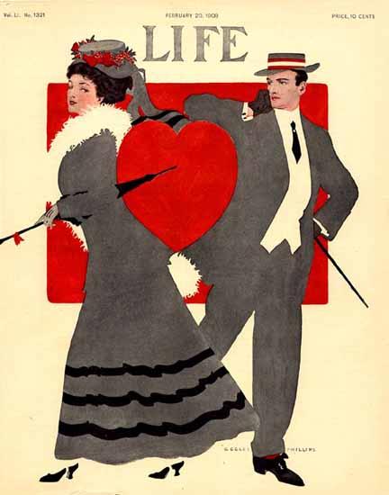 Coles Phillips Life Humor Magazine 1908-02-20 Copyright | Life Magazine Graphic Art Covers 1891-1936