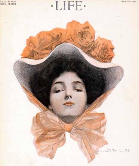 Coles Phillips Life Humor Magazine 1908-03-12 Copyright | Life Magazine Graphic Art Covers 1891-1936