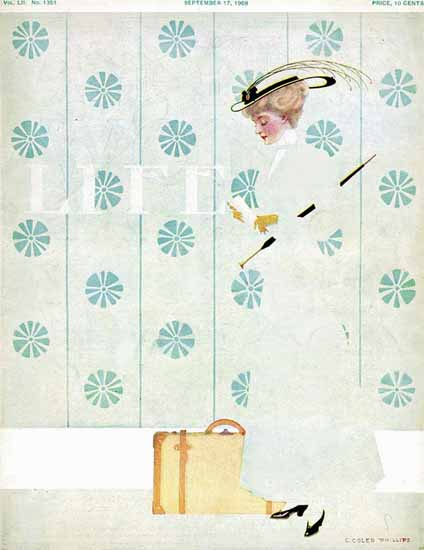 Coles Phillips Life Humor Magazine 1908-09-17 Copyright   Life Magazine Graphic Art Covers 1891-1936