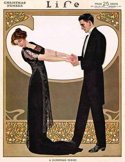 Coles Phillips Life Magazine 1911-12-07 A Christmas Design Copyright | Life Magazine Graphic Art Covers 1891-1936