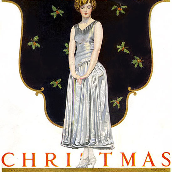 Coles Phillips Life Magazine A Lady in Waiting 1923-12-06 Copyright crop | Best of Vintage Cover Art 1900-1970