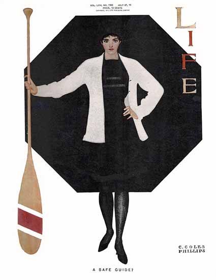 Coles Phillips Life Magazine A Safe Guide 1911-07-27 Copyright | Life Magazine Graphic Art Covers 1891-1936