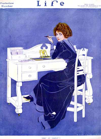 Coles Phillips Life Magazine Dear or Dearest 1910-09-22 Copyright | Life Magazine Graphic Art Covers 1891-1936