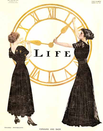 Coles Phillips Life Magazine Forward and Back 1911-03-16 Copyright | Life Magazine Graphic Art Covers 1891-1936