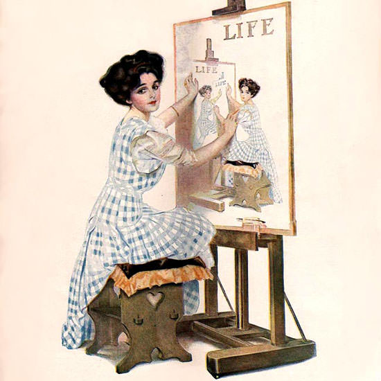 Coles Phillips Life Magazine From The Mirror 1909-08-19 Copyright crop | Best of Vintage Cover Art 1900-1970