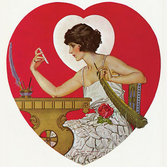 Coles Phillips Life Magazine Heart to Heart 1922-02-16 Copyright crop | Best of Vintage Cover Art 1900-1970