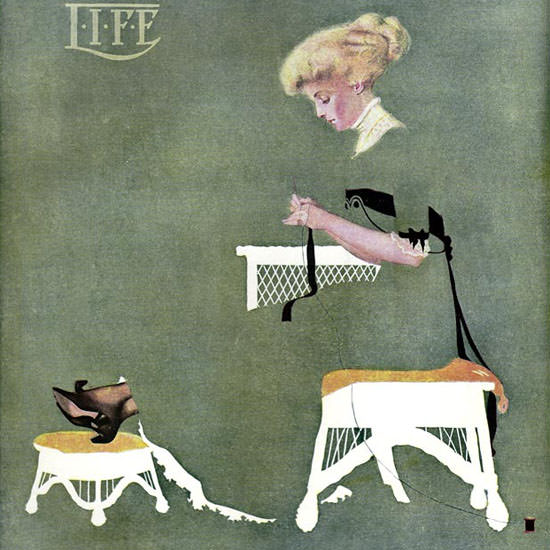 Coles Phillips Life Magazine Home Ties 1909-10-14 Copyright crop | Best of Vintage Cover Art 1900-1970
