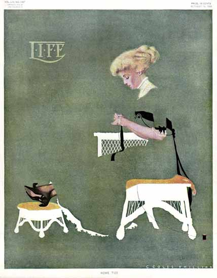 Coles Phillips Life Magazine Home Ties 1909-10-14 Copyright | Life Magazine Graphic Art Covers 1891-1936