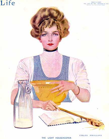 Coles Phillips Life Magazine Light Housekeeper 1911-10-12 Copyright | Life Magazine Graphic Art Covers 1891-1936