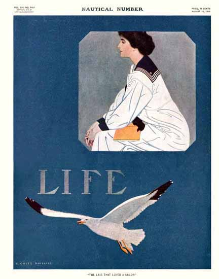 Coles Phillips Life Magazine Sailor 1910-08-18 Copyright Sex Appeal | Sex Appeal Vintage Ads and Covers 1891-1970