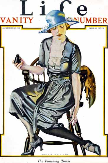 Coles Phillips Life Magazine The Finishing Touch 1921-09-29 Copyright | Life Magazine Graphic Art Covers 1891-1936