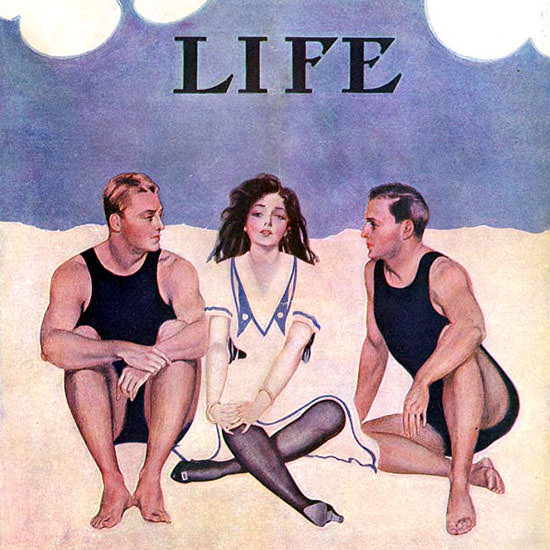 Coles Phillips Life Magazine The Sand Match 1909-07-22 Copyright crop | Best of Vintage Cover Art 1900-1970