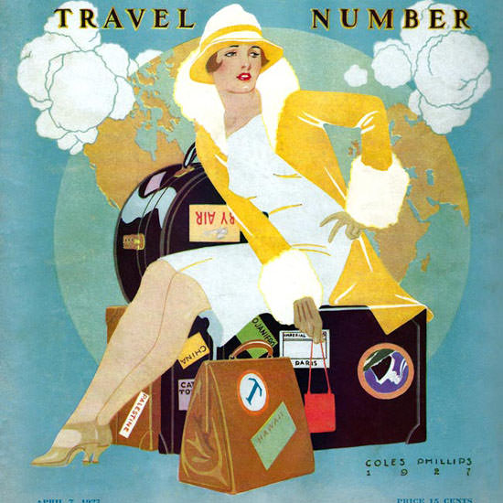 Coles Phillips Life Magazine Travel Number 1927-04-07 Copyright crop | Best of 1920s Ad and Cover Art