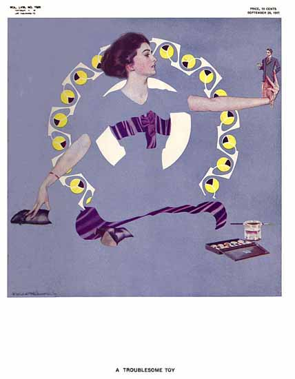 Coles Phillips Life Magazine Trouble 1911-09-28 Copyright Sex Appeal | Sex Appeal Vintage Ads and Covers 1891-1970