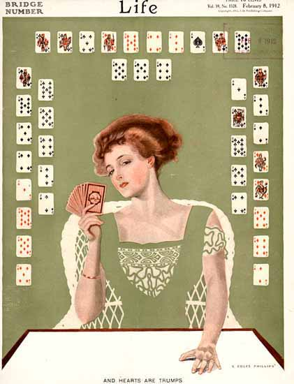 Coles Phillips Life Magazine Trumps 1912-02-08 Copyright Sex Appeal | Sex Appeal Vintage Ads and Covers 1891-1970