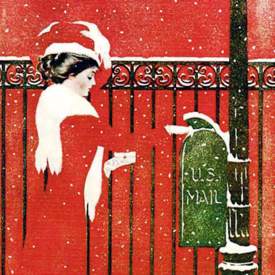 Coles Phillips Life Magazine US Mail 1909-12-02 Copyright crop | Best of Vintage Cover Art 1900-1970