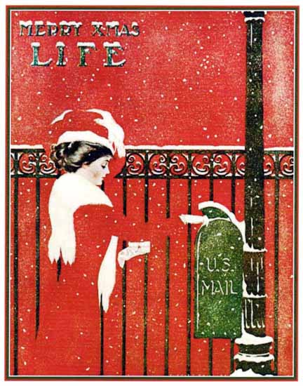 Coles Phillips Life Magazine US Mail 1909-12-02 Copyright | Life Magazine Graphic Art Covers 1891-1936