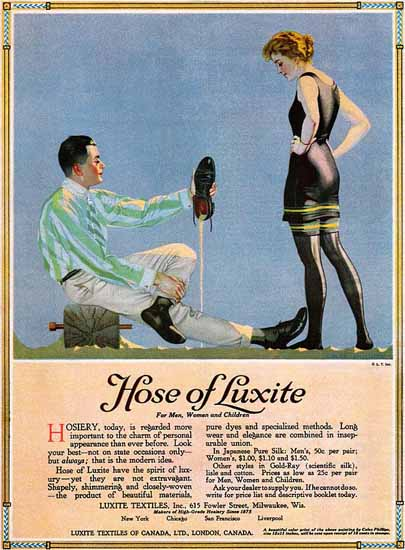 Coles Phillips Luxite Hose Spirit Of Luxery 1917 Sex Appeal | Sex Appeal Vintage Ads and Covers 1891-1970