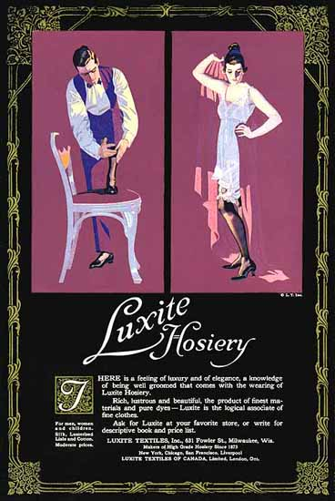 Coles Phillips Luxite Hosiery Feeling of Luxery 1917 Sex Appeal | Sex Appeal Vintage Ads and Covers 1891-1970