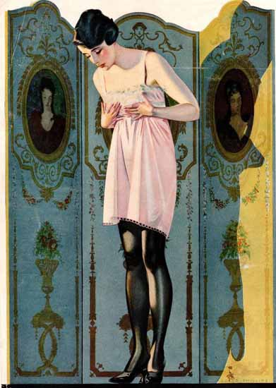 Coles Phillips Luxite Hosiery Folding Sreen Sex Appeal | Sex Appeal Vintage Ads and Covers 1891-1970