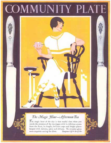Coles Phillips Oneida Community Plate Afternoon Tea Sex Appeal | Sex Appeal Vintage Ads and Covers 1891-1970
