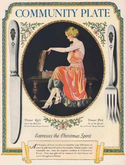 Coles Phillips Oneida Community Plate Christmas Spirit 1924 Sex Appeal | Sex Appeal Vintage Ads and Covers 1891-1970