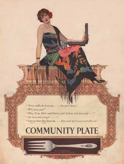 Coles Phillips Oneida Community Plate Love Me 1925 Sex Appeal   Sex Appeal Vintage Ads and Covers 1891-1970