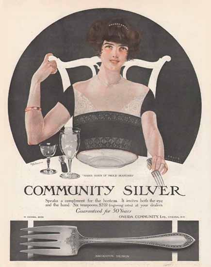 Coles Phillips Oneida Community Silver For The Hostess Sex Appeal   Sex Appeal Vintage Ads and Covers 1891-1970