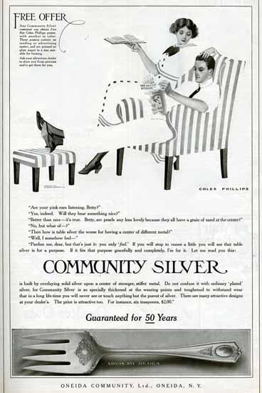 Coles Phillips Oneida Community Silver Louis XVI Design 1911 C | 200 Coles Phillips Magazine Covers and Ads 1908-1927