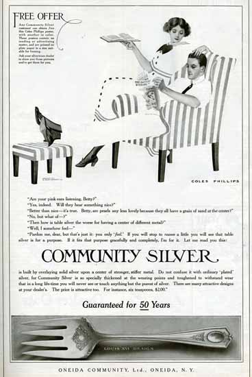 Coles Phillips Oneida Community Silver Louis XVI Design 1911 Sex Appeal | Sex Appeal Vintage Ads and Covers 1891-1970