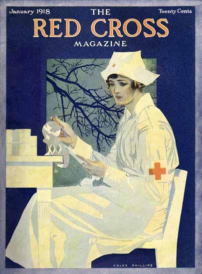 Coles Phillips Red Cross Magazine January 1918 C   200 Coles Phillips Magazine Covers and Ads 1908-1927