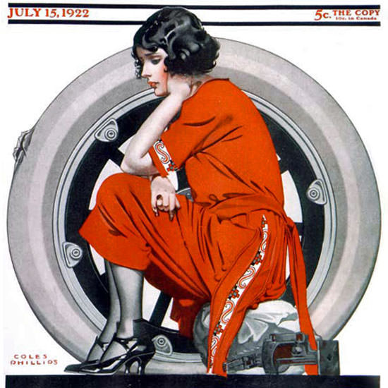 Coles Phillips Saturday Evening Post Flat Tire 1922_07_15 Copyright crop | Best of 1920s Ad and Cover Art