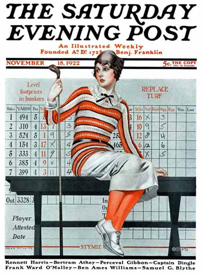 Coles Phillips Saturday Evening Post Woman Golfer 1922_11_18 C | 200 Coles Phillips Magazine Covers and Ads 1908-1927