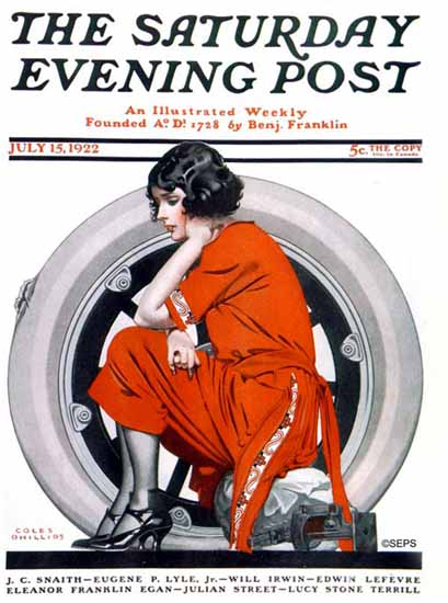 Coles Phillips Saturday Evening Post Woman and Flat Tire 1922_07_15 C | 200 Coles Phillips Magazine Covers and Ads 1908-1927