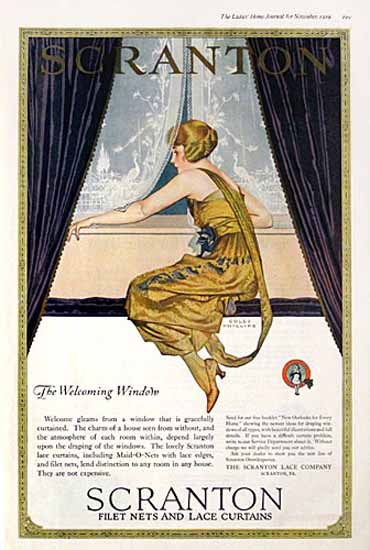 Coles Phillips Scranton Curtains The Welcome Window C | 200 Coles Phillips Magazine Covers and Ads 1908-1927