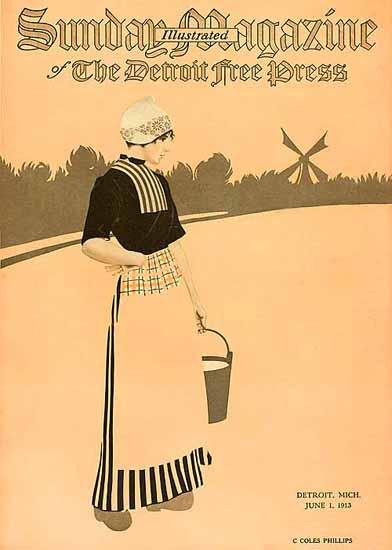 Coles Phillips Sunday Magazine Detroit Free Press 1913 C | 200 Coles Phillips Magazine Covers and Ads 1908-1927