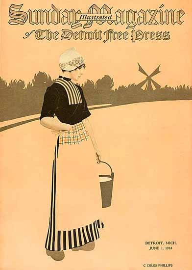 Coles Phillips Sunday Magazine Detroit Free Press 1913 Sex Appeal | Sex Appeal Vintage Ads and Covers 1891-1970