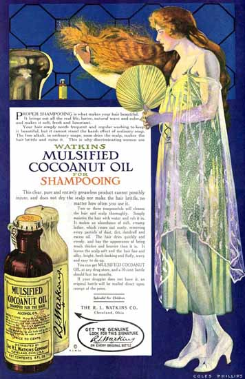 Coles Phillips Watkins Mulsified Coconut Oil Shampoo 1918 C | 200 Coles Phillips Magazine Covers and Ads 1908-1927
