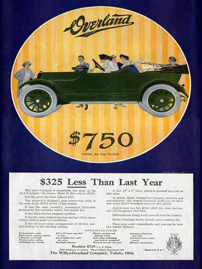 Coles Phillips Willys Overland Model 83 Roadstert 1916 C   200 Coles Phillips Magazine Covers and Ads 1908-1927