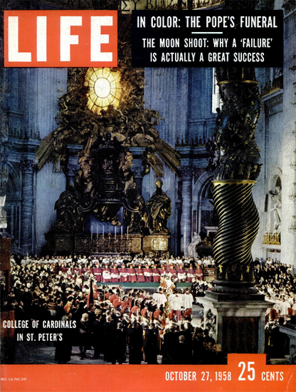 College of Cardinals in St Peters 27 Oct 1958 Copyright Life Magazine | Life Magazine Color Photo Covers 1937-1970