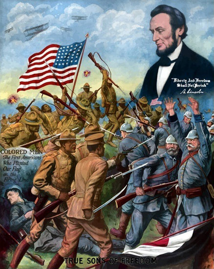 Colored Men African American Troops A Lincoln | Vintage War Propaganda Posters 1891-1970